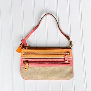 Coach wristlet canvas clutch